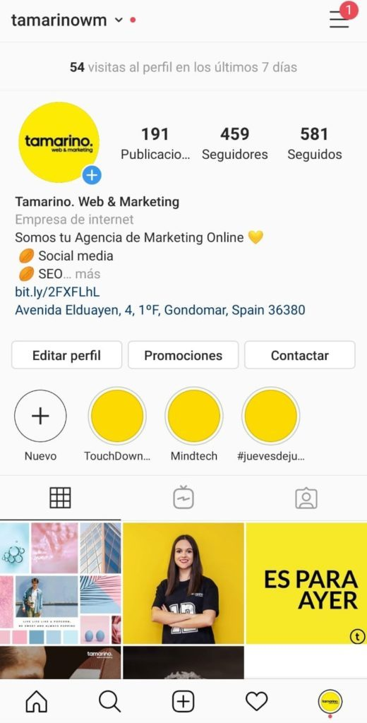 Cuenta de Instagram con la sesión iniciada