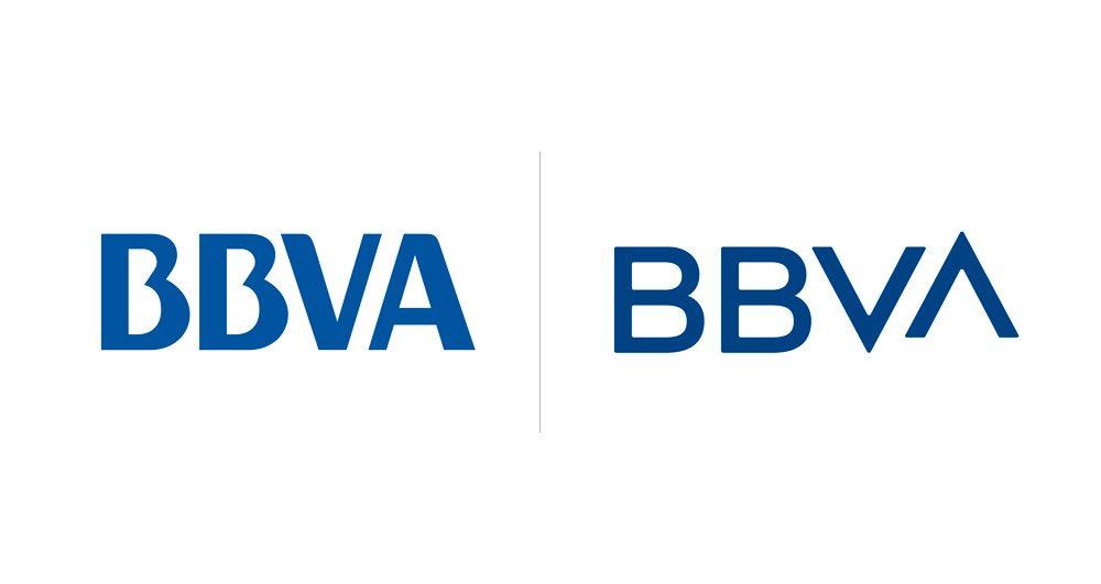 Comparativa de los dos logos de BBVA antes y después del cambio realizado en 2019