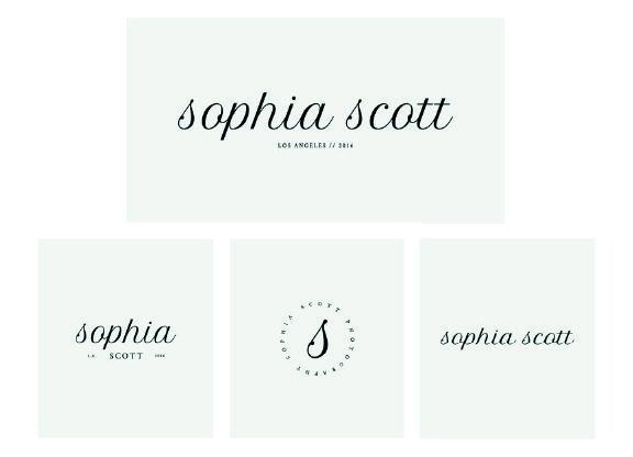 Imagen corporativa de Sophia Scott con diferentes versiones del logotipo