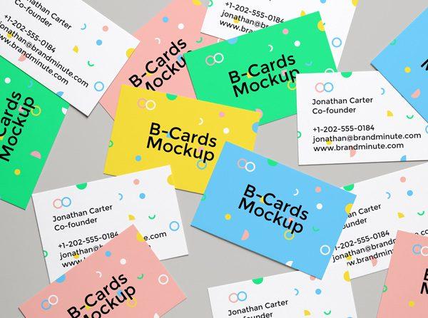 Mockup  de tarjetas de visita en diferentes colores