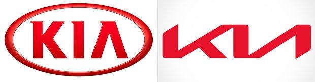 Comparativa de los dos logos de KIA antes y después del cambio realizado en 2021