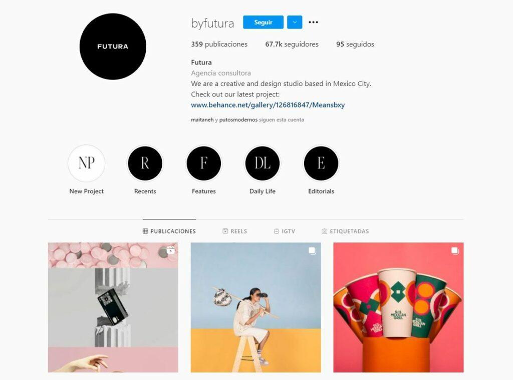 Cuenta de instagram de @byfutura, expertos en branding y marketing