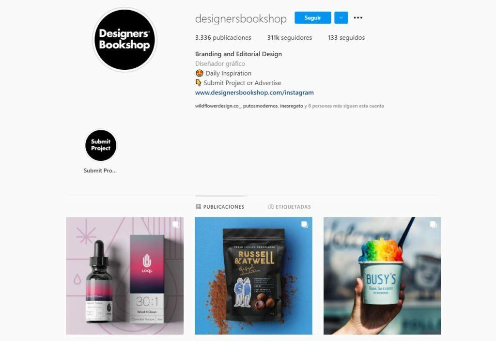 La cuenta de Instagram de @designerbookshop, donde comparten consejos y herramientas para diseñadores y sus últimos trabajo de branding