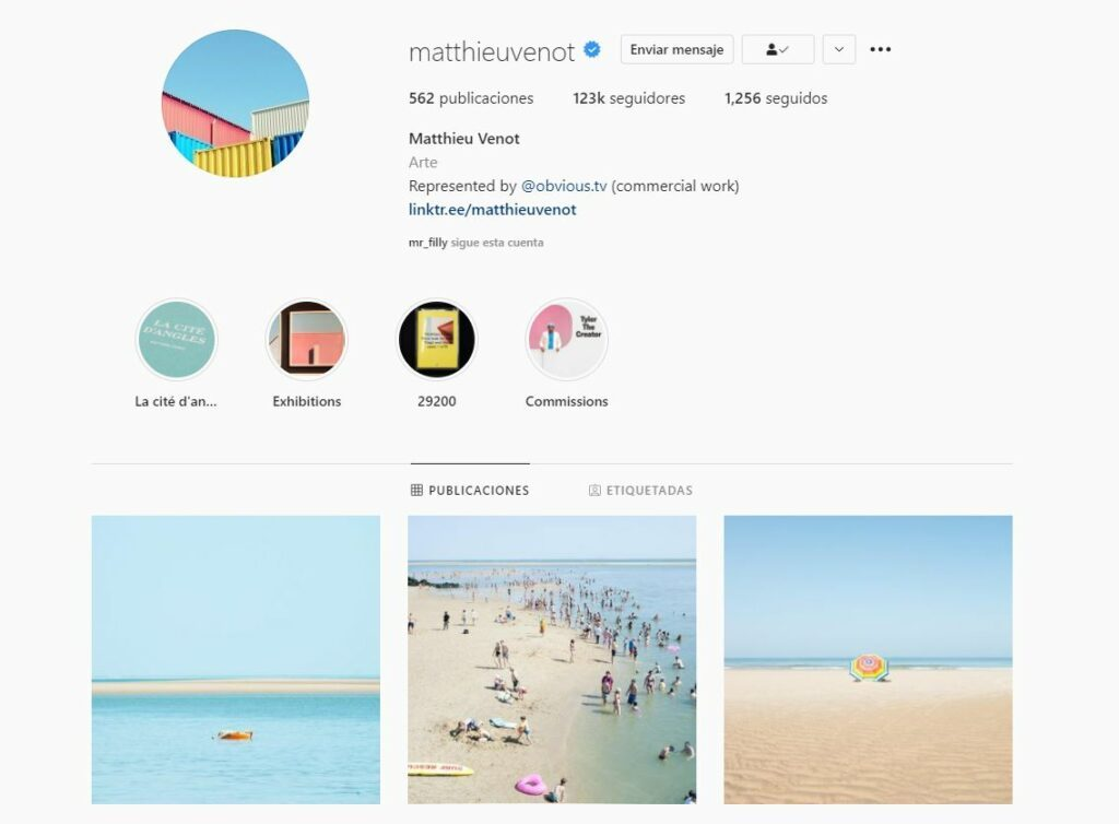 Instagram de Matthieu Venot, un fotógrafo que ha creado su imagen de marca alrededor de su estilo fotográfico
