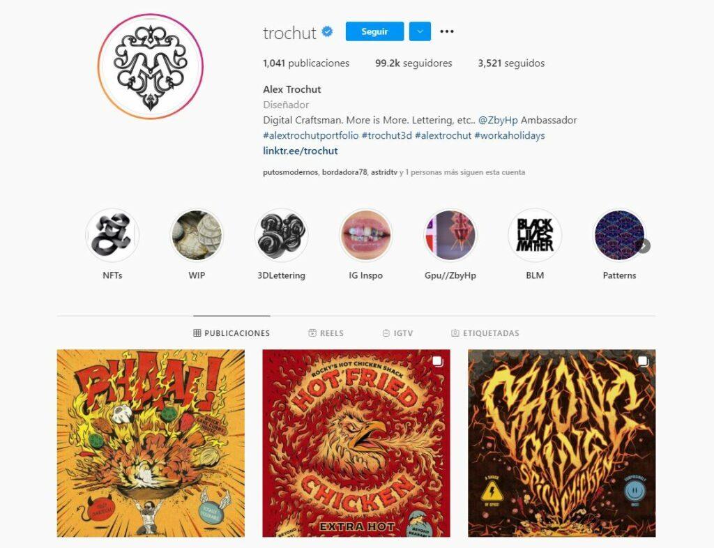 Perfil de Instagram de Alex Trochut, ilustrador y diseñador gráfico con un estilo ecléctico y gamberro.