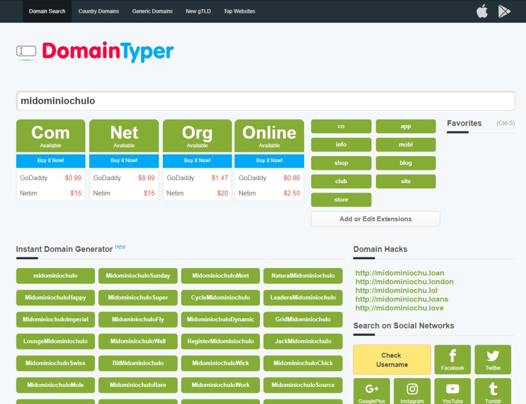 domaintyper.com, una de las mejores herramientas online para la búsqueda de dominios y nombres de usuario
