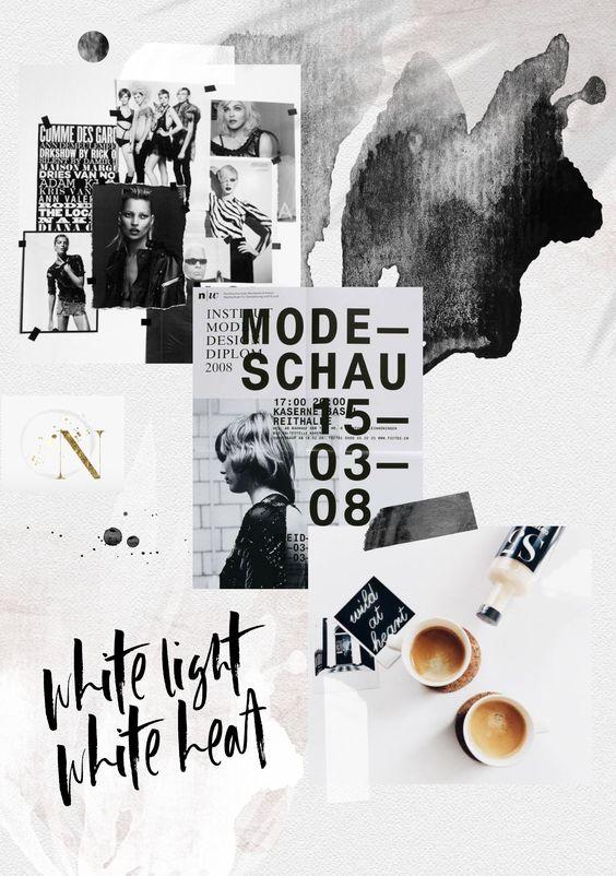 Moodboard con deferentes tipos de tipografías y texturas