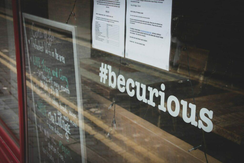Hashtag en un escaparate