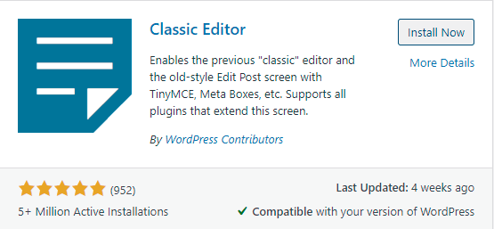 Editor clásico WordPress