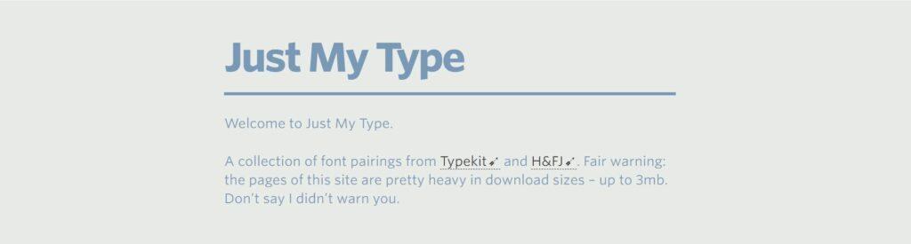 Just My Type, la página perfecta para combinar tipografías para principiantes
