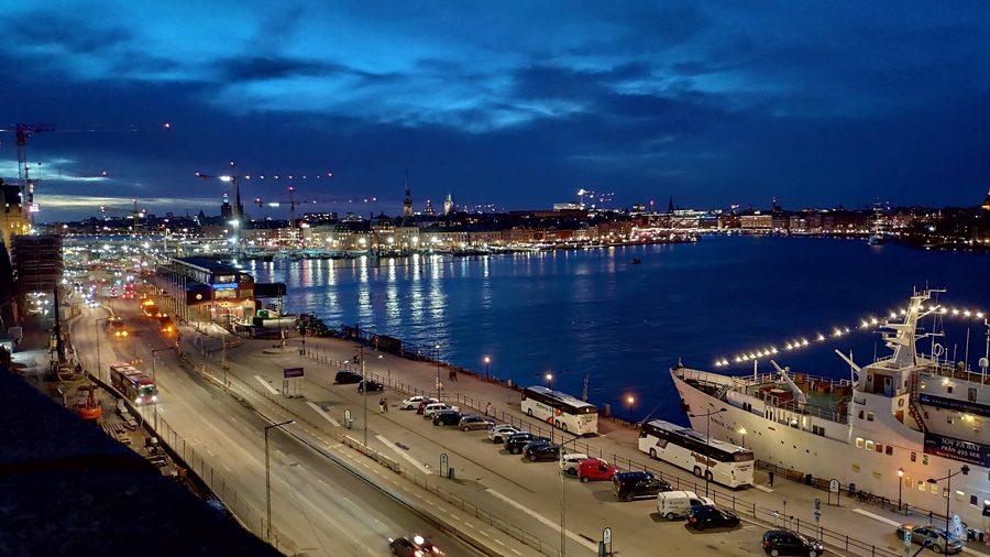 Foto nocturna de Estocolmo, Suecia