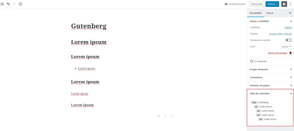 tabla de contenidos gutenberg