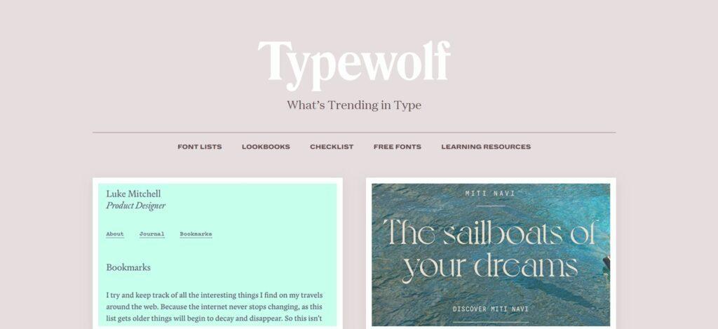 Typewolf nos provee, no sólo de tipografías y combinaciones, sino también de un sinfín de recursos gráficos